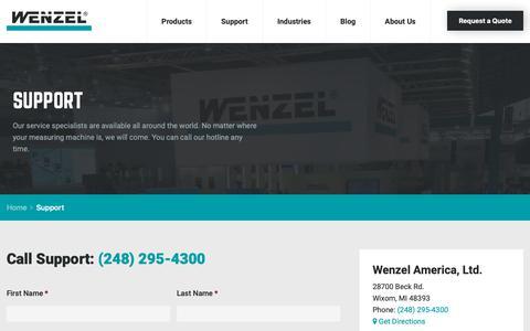 Screenshot of Support Page wenzelamerica.com - Support   Wenzel America - captured Oct. 20, 2018