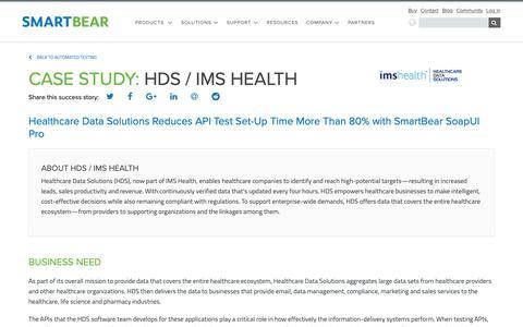 Screenshot of Case Studies Page smartbear.com - Case Study: HDS / IMS Health | SmartBear - captured Dec. 6, 2018