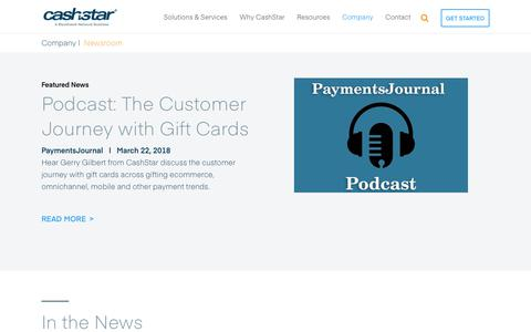 Screenshot of Press Page cashstar.com - Payments News Articles and Press Releases - CashStar - captured July 12, 2018