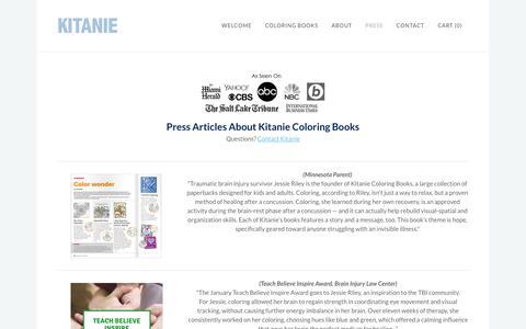 Screenshot of Press Page kitanie.com - Press Articles - Kitanie Coloring Books - captured June 27, 2016