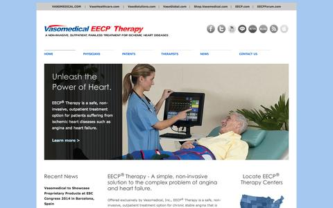 Screenshot of Home Page eecp.com - EECP® Therapy | A Non-Invasive, Outpatient, Painless Treatment for Ischemic Heart Diseases - captured Sept. 5, 2015