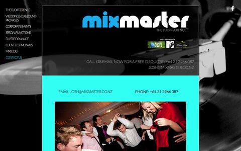 Screenshot of Contact Page mixmaster.co.nz - Contact Us — MIXMASTER - captured Sept. 30, 2014