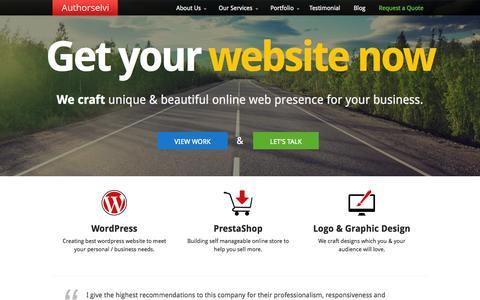 Screenshot of Home Page authorselvi.com - Web designing | Website design | web development services - captured Sept. 19, 2014