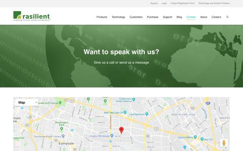 Screenshot of Contact Page rasilient.com - Contact | Rasilient Systems - captured Oct. 19, 2018