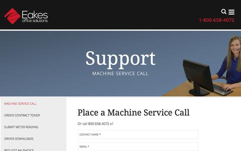 Screenshot of Support Page eakes.com - Request Copier Service   HP Printer Service - captured Oct. 19, 2016
