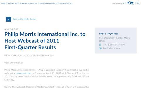 Screenshot of Press Page pmi.com - Philip Morris International Inc. to Host   Webcast of 2011 First-Quarter Results - captured Nov. 1, 2018