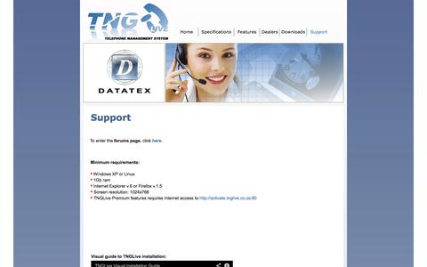 Screenshot of Support Page tng.co.za - Support - captured Oct. 6, 2014