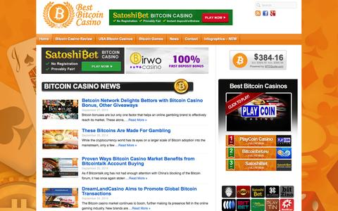 Screenshot of Home Page bestbitcoincasino.com - Bitcoin Casino – The Best Bitcoin Accepting Casinos 2014 - captured Sept. 30, 2014