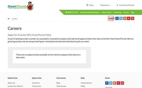 Screenshot of Jobs Page greenthumb.co.uk - Careers - GreenThumb Lawn Treatment Service - captured Sept. 21, 2017