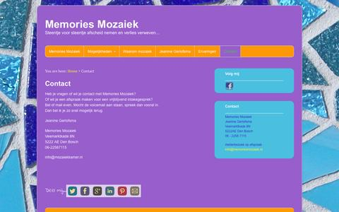 Screenshot of Contact Page memoriesmozaiek.nl - Contact Memories Mozaiek - captured Jan. 10, 2016