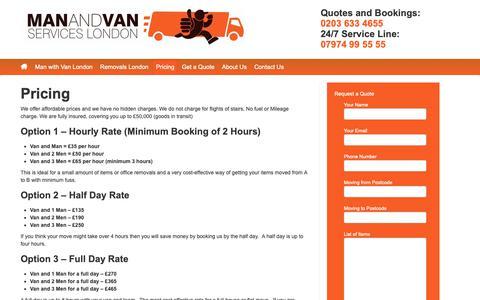 Screenshot of Pricing Page man-van.co.uk - Pricing - Man and Van London Collections | Man-Van.co.uk - captured Nov. 9, 2018