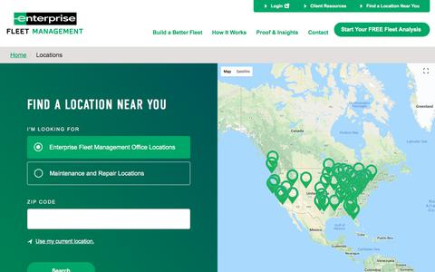 Screenshot of Locations Page efleets.com - Service Locations and Enterprise Fleet Management Offices - captured Aug. 1, 2018