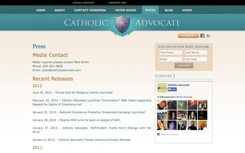 Screenshot of Press Page catholicadvocate.com - Catholic Advocate | Press - captured Sept. 29, 2014