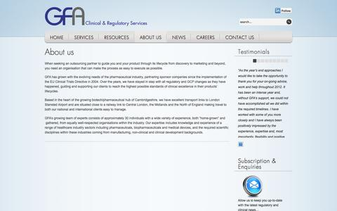 Screenshot of About Page gf-associates.co.uk - About us   GFA - captured Oct. 1, 2014