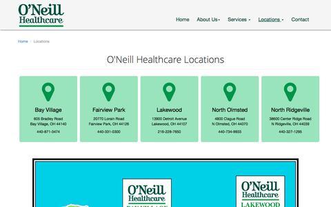 Screenshot of Locations Page oneillhc.com - Locations - O'Neill Healthcare & Managment - captured Feb. 13, 2016