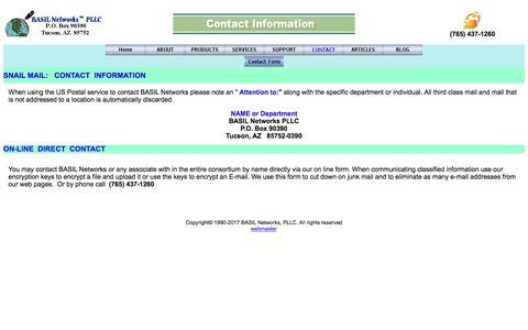 Screenshot of Contact Page basilnetworks.com - BASIL Networks->Contact Information - captured Sept. 28, 2017