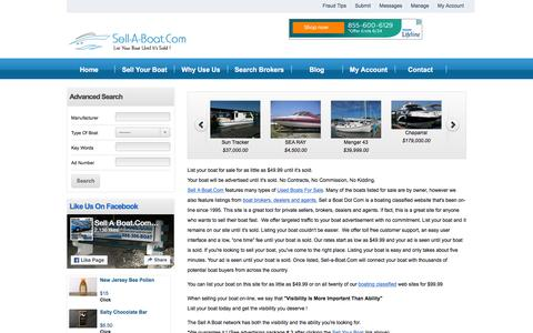 Screenshot of Home Page sell-a-boat.com - Sell A Boat Used Boat For Sale Boats On Line  List Your Boat Until It's Sold 571-306-BOAT (2628) | Sell-A-Boat.COMmission Free ! - captured June 15, 2016