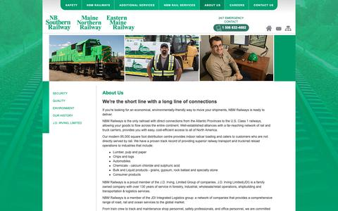 Screenshot of About Page nbsouthern.com - NBM Railways - NBSR, EMR, MNR : About Us - Environmentally Friendly, Superior Railway Transport, Reload Operations - captured Oct. 22, 2018