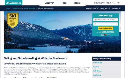 Screenshot of Hours Page whistler.com - Whistler BC Canada | Skiing and Snowboarding | Tourism Whistler - captured Nov. 4, 2014