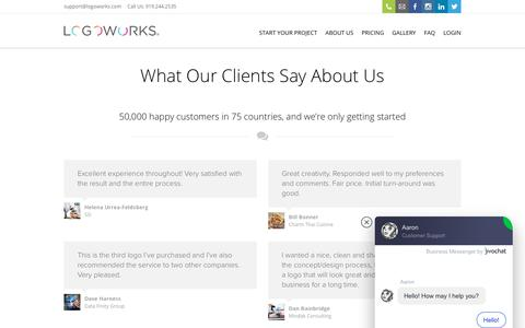 Screenshot of Testimonials Page logoworks.com - Testimonials   Logoworks   Professional Logo, Web, Graphic Design, and much, much more - captured Dec. 12, 2019