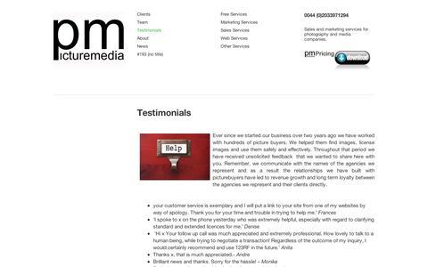 Screenshot of Testimonials Page wordpress.com - Testimonials | - captured Sept. 12, 2014
