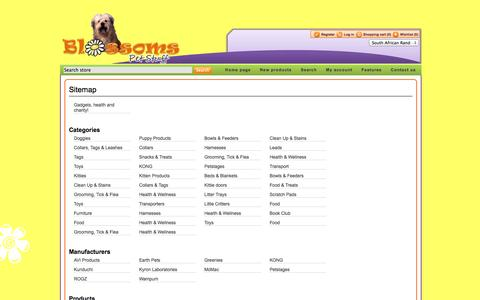 Screenshot of Site Map Page blossoms.co.za - Sitemap. Pet products store online. Blossoms Pet Stuff, for the most exciting range of products and accesories for your pet - captured Oct. 5, 2014