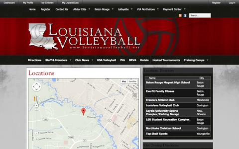 Screenshot of Maps & Directions Page louisianavolleyball.net - Louisiana Volleyball » Locations & Directions - captured Sept. 30, 2014