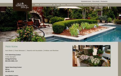 Screenshot of Press Page oldedwardsinn.com - Press Room | Old Edwards Inn & Spa, Highlands, NC - captured Sept. 19, 2014