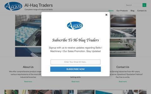 Screenshot of Home Page alhaqtraders.com - Al-Haq Traders - Complete range of Industrial Belts or Belting - captured May 29, 2017