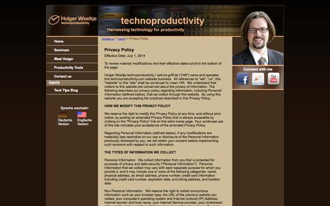 Screenshot of Privacy Page technoproductivity.com - Privacy Policy:Holger Wöltje - Die Zeit im Griff mit Outlook - captured Oct. 26, 2014
