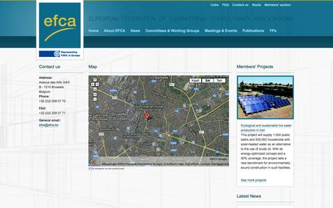 Screenshot of Contact Page Maps & Directions Page efcanet.org - Efca > Contact > Contact us - captured Oct. 22, 2014