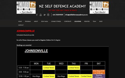 Screenshot of Locations Page selfdefenceacademy.co.nz - Johnsonville - Self Defence Academy - captured Oct. 25, 2017