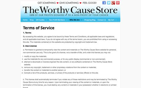 Screenshot of Terms Page worthycausestore.com - Terms of Service - captured Oct. 9, 2014