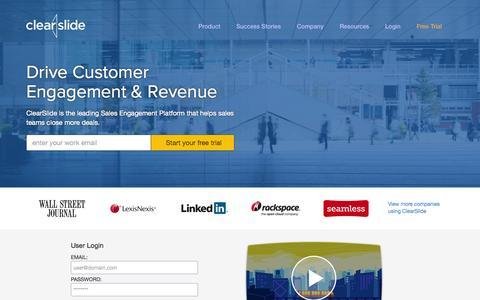 Screenshot of Home Page clearslide.com - Presentation Software & Sales Management | ClearSlide - captured Jan. 15, 2015