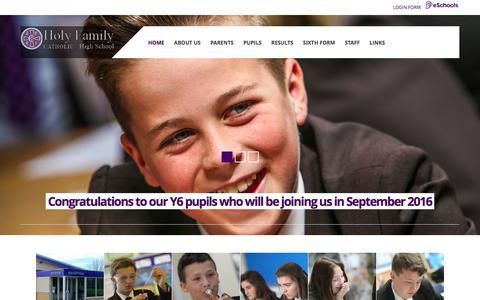 Screenshot of Home Page holyfamilyhighschool.co.uk - Home - captured March 12, 2016