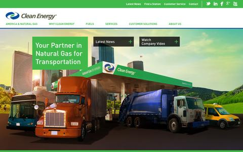 Screenshot of Home Page cleanenergyfuels.com - Clean Energy Fuels | Your Partner in Natural Gas for Transportation - captured Sept. 19, 2014