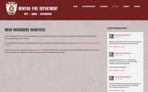 Screenshot of Signup Page newtonfiredepartment.org - Join NFD   Newton Fire Department - captured Aug. 13, 2016