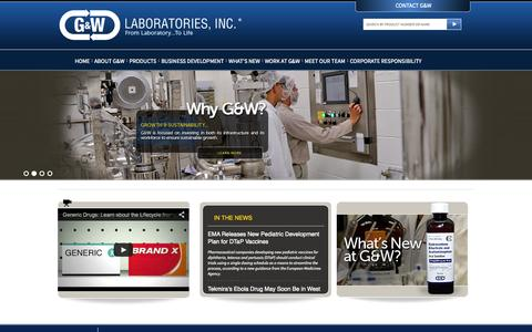 Screenshot of Home Page gwlabs.com - G & W Laboratories | From Laboratory…To Life - captured Oct. 1, 2014