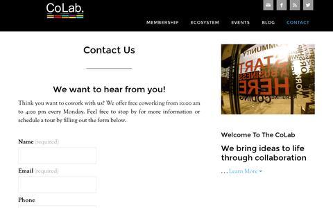 Screenshot of Contact Page grandincolab.com - Contact Us - captured Sept. 30, 2014