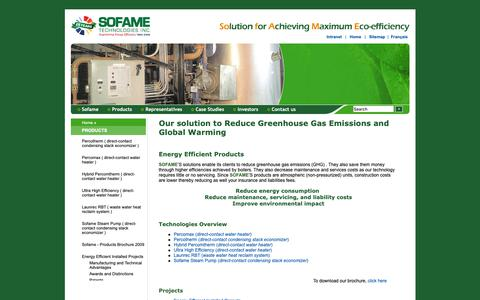 Screenshot of Products Page sofame.com - Sofame Technologies - Products, technologies and projects - captured Oct. 18, 2018