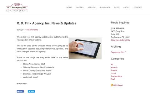 Screenshot of Press Page rdfink.com - R.D. Fink Agency, Inc. - Agency News & Updates - captured Oct. 20, 2018