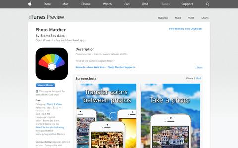 Screenshot of iOS App Page apple.com - Photo Matcher on the App Store on iTunes - captured Nov. 3, 2014