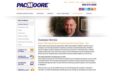 Screenshot of Support Page pacmoore.com - Customer Service | PacMoore - captured Oct. 1, 2014