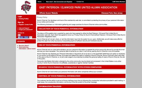 Screenshot of Privacy Page epcrusaders.org - East Paterson / Elmwood Park United Alumni Association - Privacy Policy - captured March 4, 2016