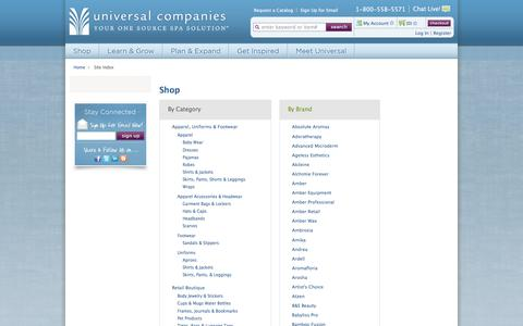 Screenshot of Site Map Page universalcompanies.com - [System] Site Index - captured July 3, 2018