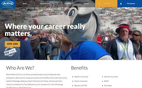 Screenshot of Jobs Page activepestcontrol.com - Careers | Active Pest Control® | Pest Control - captured July 28, 2018
