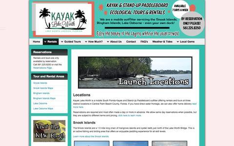 Screenshot of Locations Page kayaklakeworth.com - Kayak Lake Worth Rental and Eco-Tour Locations - captured Sept. 30, 2014