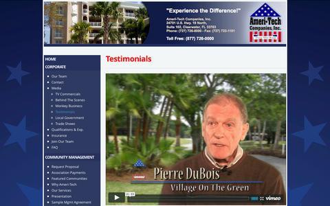 Screenshot of Testimonials Page ameritechcompanies.com - Testimonials - Ameri-Tech Companies - captured Feb. 6, 2016