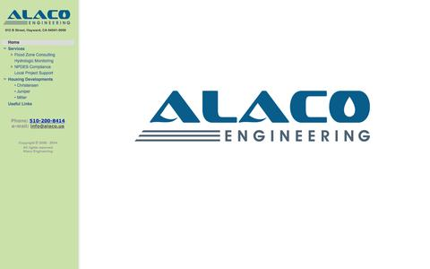 Screenshot of Home Page alaco.us - Alaco Engineering - captured Oct. 4, 2014