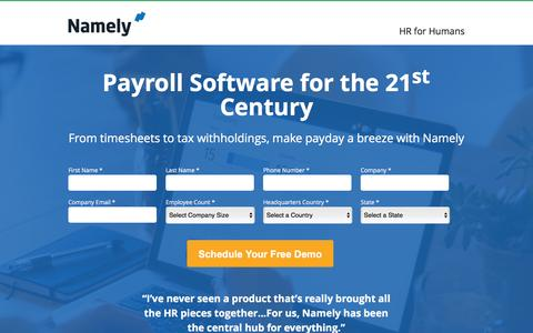 Screenshot of Landing Page namely.com - Payroll - Namely - captured Feb. 11, 2016